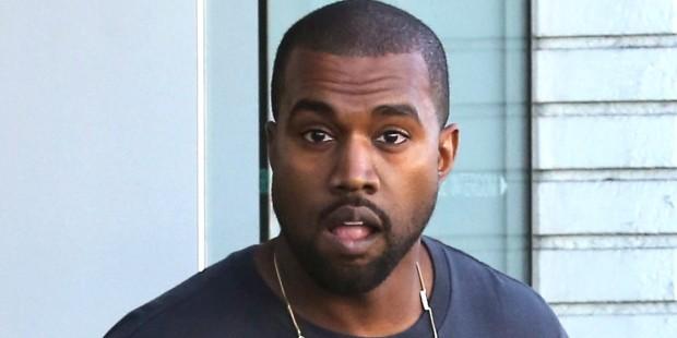 Kanye West leaving building after incident